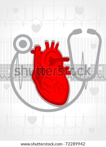 abstract heartbeat background with stethoscope, human heart