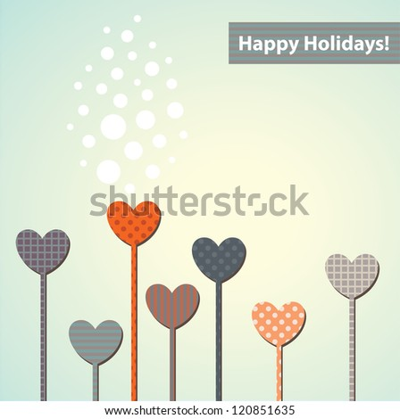 Abstract hearts greeting Card. Vector illustration./ Happy Holidays!
