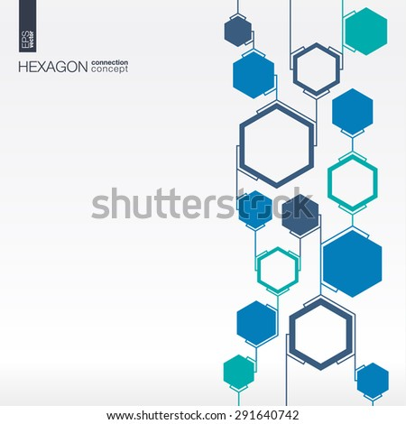 Abstract hexagon background with integrated polygons for Business Company, digital, interactive, network, connect, social media and global concepts.