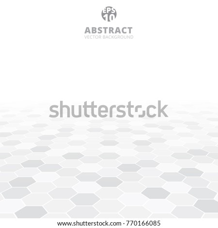 Abstract hexagon perspective pattern white and gray color background. Vector illustration #770166085