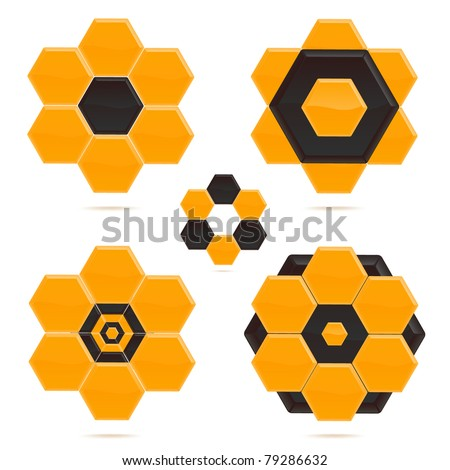 abstract hexagon shapes, design elements