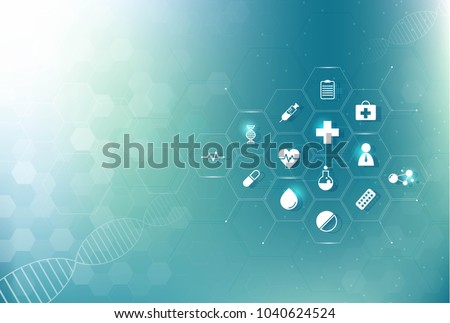 abstract hexagon texture health care and science icon pattern medical innovation concept background vector design.