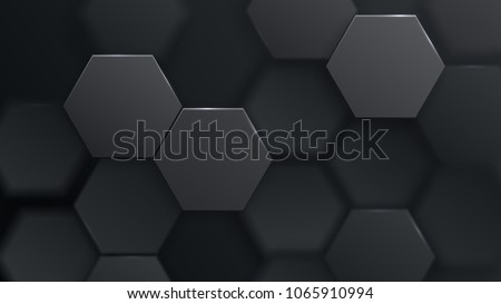 Abstract hexagonal background. Futuristic technology concept. 3d vector illustration. Hex geometry pattern. Carbon cells. Polygonal dark surface. Polished mosaic