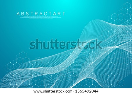 Abstract hexagonal boxes background. Molecular structure with hexagons lines and dots. Medical banner template design. Science and technology concept. Vector illustration.