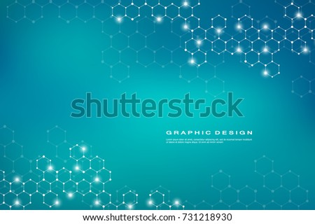 Abstract hexagonal molecule background, genetic and chemical compounds system. Geometric graphics and connected lines with dots. Scientific and technological concept, vector illustration