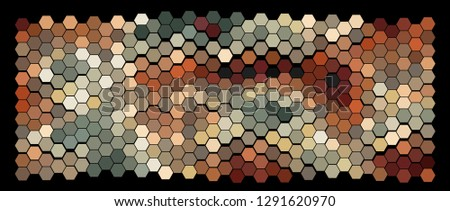 Abstract hexagonal pattern on a black background. Wavy geometric backdrop. #1291620970