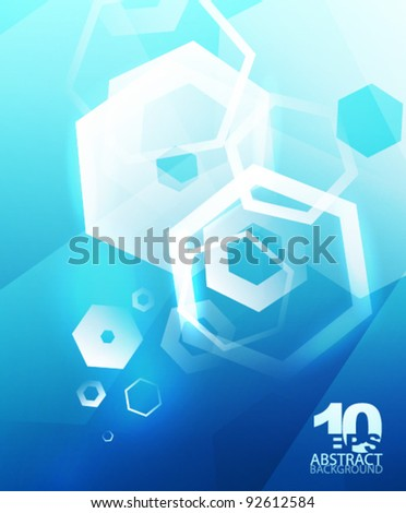 Abstract hexagons. Vector geometric futuristic hi-tech background