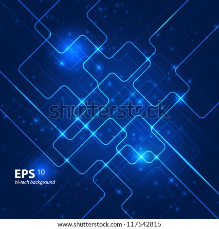 Abstract hi-tech blue background. Vector illustration. - stock vector