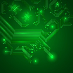 Abstract hi-tech electronic background with circuit board texture. Vector illustration.