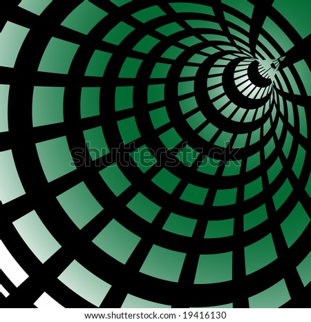 Abstract Hi Tech Green Tunnel Made From Green Squares, Technology