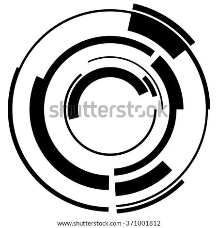 Abstract hi-tech segmented geometric circle shape isolated on white