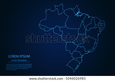 Abstract High Detailed Glow Blue Map on Dark Background of Map of Brazil symbol for your web site design map logo, app, ui,Travel. Vector illustration eps 10.