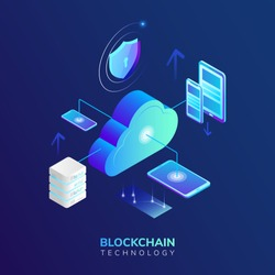 Abstract high security, blockchain technology, concept. Isometric vector illustration