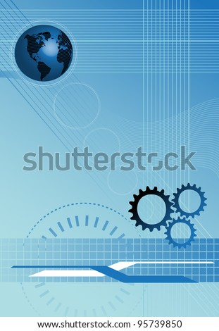 Abstract high tech background with blue globe, cogwheels and thin stripes. Technology background concept