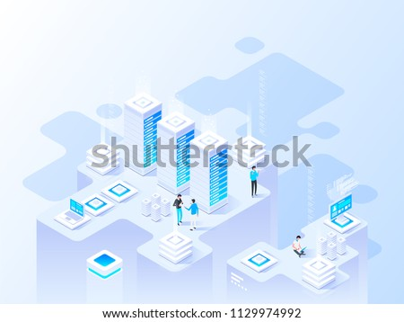 Abstract high technology concept. Isometric vector illustration