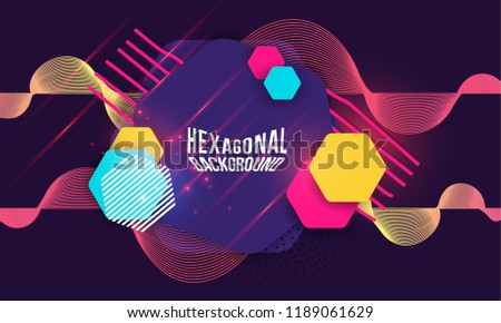Abstract Hipster Technological Hexagonal Background Geometric Pattern.  Fashion Vector Design Hexagonal Dynamic Forms Pattern.