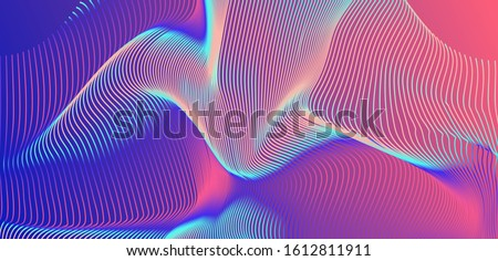 Abstract holographic background with glitched wavy surface of lines. Retrofuturistic vaporwave and synthwave style aesthetics. Сток-фото ©