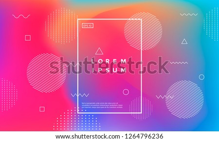 Abstract holographic background with memphis geometric elements. Vaporwave style.