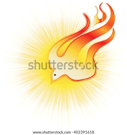 Abstract Holy Spirit symbol - a white dove on flames, with halo of light rays