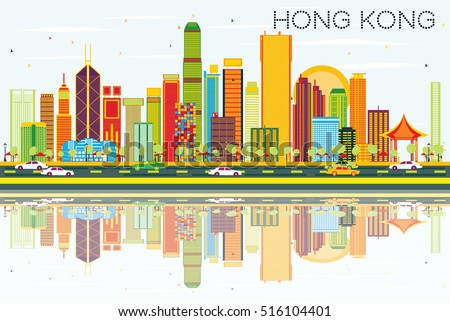 abstract hong kong skyline with