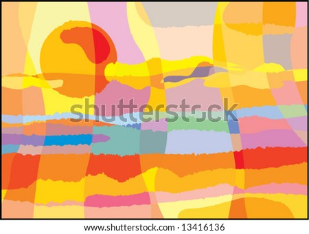 Abstract hot sunset. Vector.