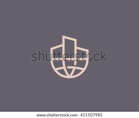 abstract house globe logo