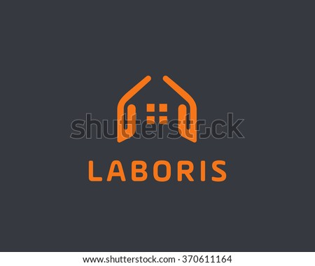 Abstract house hands logo design template. Premium real estate sign. Universal protection care home realty business vector icon. Negative space idea logotype