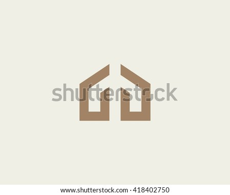 Abstract house hands logo design template. Premium real estate sign. Universal protection care home realty business vector icon.