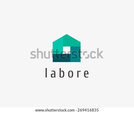 Abstract house logo design template. Colorful sign. Universal vector icon