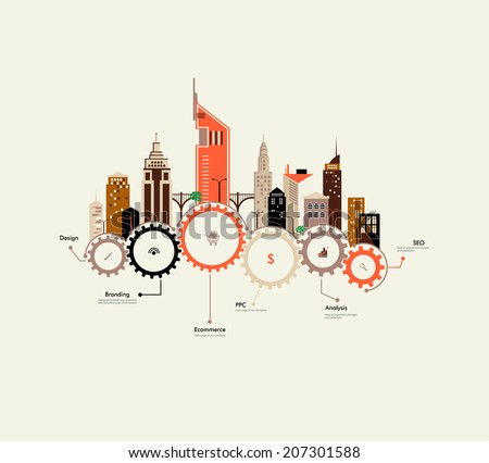 Abstract houses on the gears. Urban infrastructure. Interaction in environment. Flat design. Small business. City life. Ecology. Info graphics.