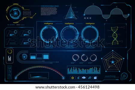 abstract hud intelligence interface data computing screen concept design background