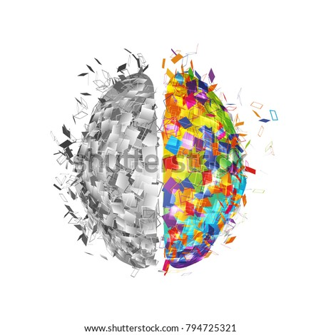 Abstract human brain with colorful right part and monochromicorn left part . Visual logo of mind isolated vector illustration