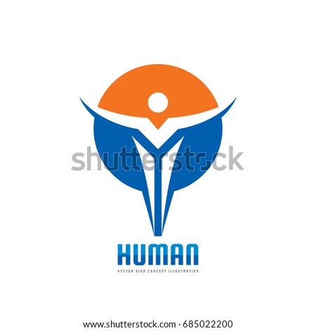 Abstract human character in circle shape - vector logo template concept illustration. People creative sign. Freedom creative symbol. Man figure icon. Design element.