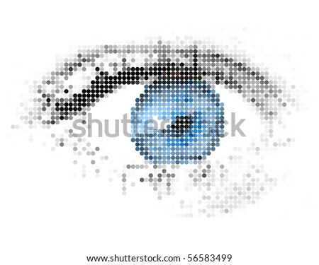 Abstract human - digital - blue eye made from circles - stock vector