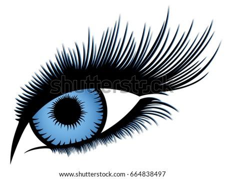abstract human eye with long
