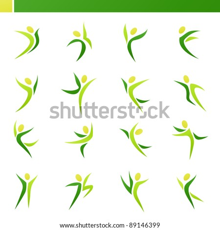 Abstract human figures in action. Vector logo template set. Elements for design. Icon set. - stock vector
