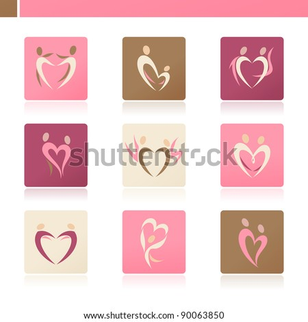 Abstract human silhouettes in the shape of heart. Icon set.