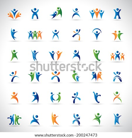 Abstract Human Symbols Set. Success, Celebration, Achievement - Activity - Isolated On Gray Background - Vector Illustration, Graphic Design Editable For Your Design. stock photo