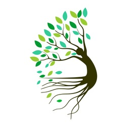 Abstract Human tree logo. Unique Tree Vector illustration with circle and abstract woman shape.