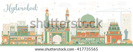 abstract hyderabad skyline with