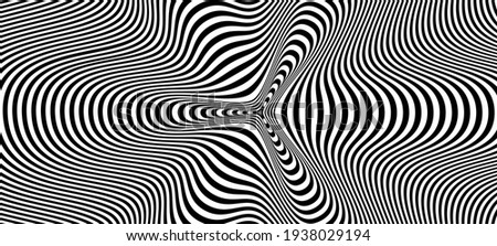 Abstract hypnotic pattern with black-white striped lines. Psychedelic background. Op art, optical illusion. Modern design, graphic texture. Сток-фото ©