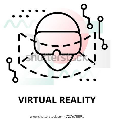 Abstract icon of future technology - virtual reality on color geometric shapes background, for graphic and web design