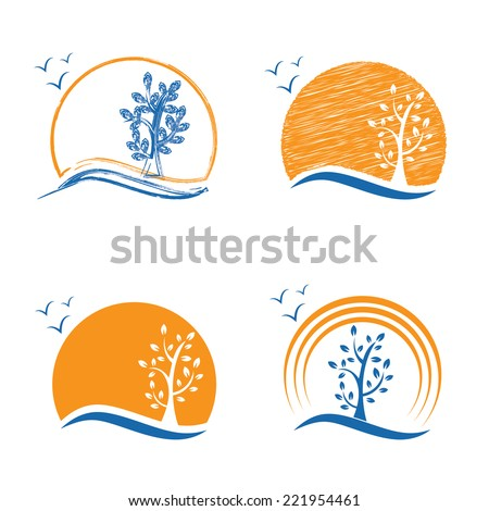 abstract icon of tree sun and