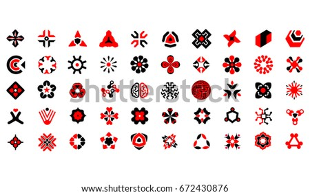 Abstract Icon Set Collection, Startup Business hi-tech geometric symbols, multicolored connected segments of lines. Vector illustration - random concepts