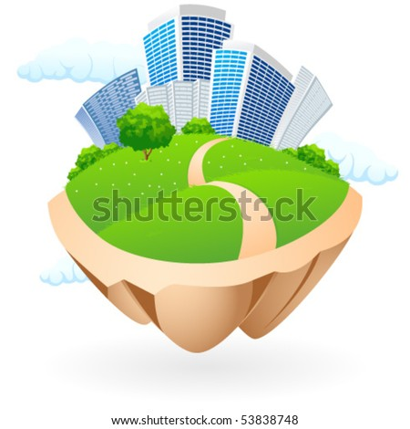 Abstract Icon with clouds and City for your design