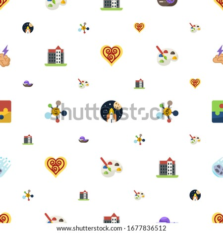 abstract icons pattern seamless. Included editable flat Quilling, space exploration, seafood, castle, Business networking, Painting, Puzzle icons. abstract icons for web and mobile.