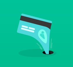 Abstract identity theft, money outflow, fraud theft protection, phishing, leakage information, economic crisis poster, financial bankruptcy flat icon modern design, vector illustration isolated