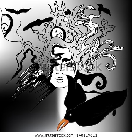 abstract illustrated woman