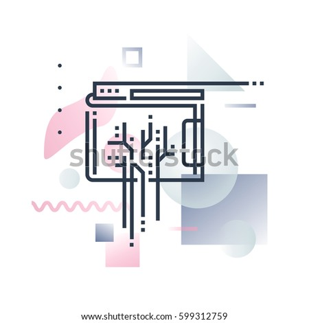 Abstract illustration concept of digital wallet technology, online transaction payment. Premium quality unique graphic design with modern line icon symbol and colored geometric shapes on background.
