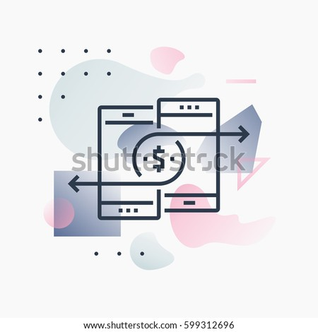 Shutterstock Abstract illustration concept of mobile payments and money transfer via smartphone. Premium quality unique graphic design with modern line icon symbol and colored geometric shapes on background.